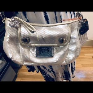 Coach Bags - Coach poppy white sequin crossbody NWOT